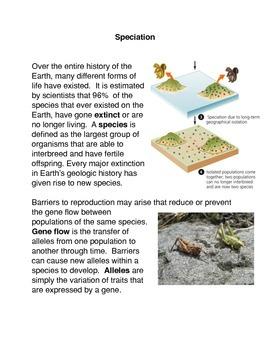 Speciation Common Core Activity