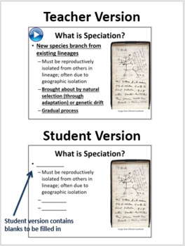 Speciation - PowerPoint Lesson and Student Notes