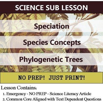 Speciation - Species Concept & Phylogenetic Tree - Homework or No Prep Sub Plan