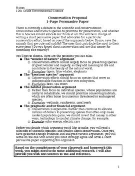 Species Conservation Paper Proposal