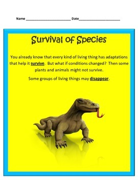 Species INTERACTIVE NOTES/STUDY GUIDE- 4th Grade Science