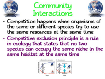 Ecology Species Interactions: PowerPoint, Student Guided Notes, Worksheet