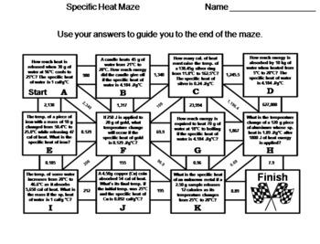 Specific Heat: Chemistry Maze
