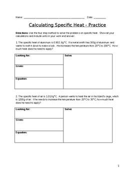 Specific Heat Practice Problems