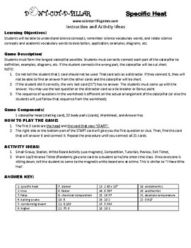 Specific Heat (Thermodynamics) Game Puzzle with Worksheet