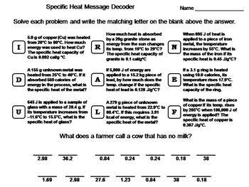 Specific Heat Worksheet: Chemistry Message Decoder