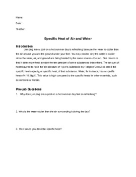 Specific Heat of Land versus Water