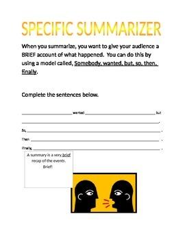 Specific Summarizer worksheet