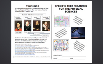 Specific Text Features for the Physical Sciences