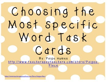 Specific Word Task Cards and Sort