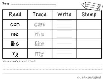 Read, Trace, Write & Stamp Sight Words