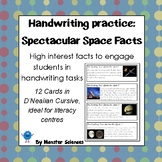 Spectacular Space Facts - Fun handwriting practice D'Nealian Cursive