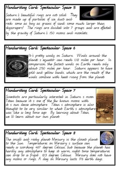 Spectacular Space Facts - Fun handwriting practice - Foundation Cursive