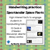 Spectacular Space Facts - Fun handwriting practice D'Nealian Manuscript