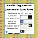 Spectacular Space Facts - Fun handwriting practice - Foundation Manuscript