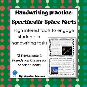 Spectacular Space Facts Senior Handwriting Worksheet Set In D