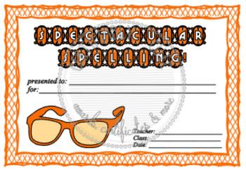 Spectacular Spelling Certificates