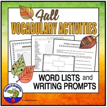 Fall Vocabulary Activities - Spectacular Words