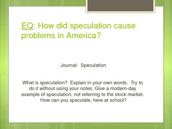 Speculation Activity using the Stock Market