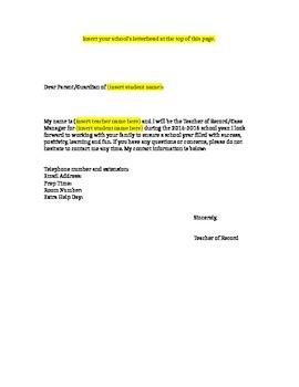 Sped. Ed. Teacher Beginning of the Year Letter
