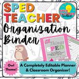 Sped Teacher Organization Binder-Owl Theme