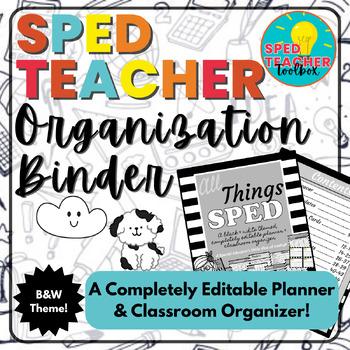 Sped Teacher Organization Binder-Black & White Theme