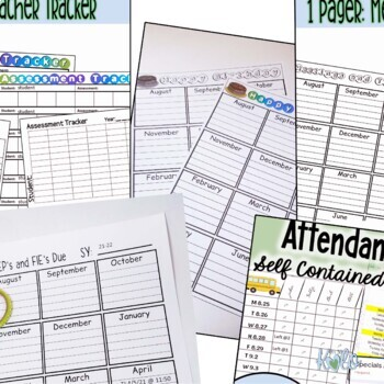 Sped Teacher Tracker -Editable, color and B/W options