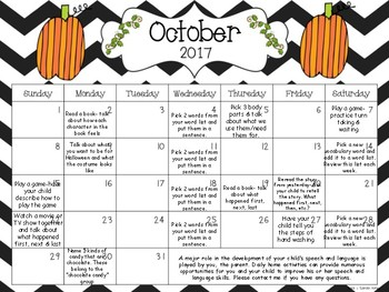 Speech AND Language Monthly Homework Calendars, Aug 2017-July 2018