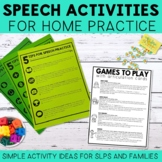 Speech Activities for Home Practice