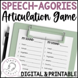 Speech-Agories Articulation Game No Print or Printable Teletherapy