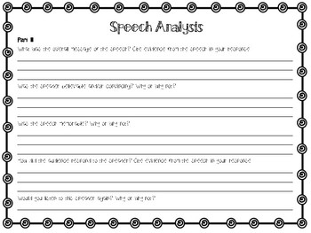 Speech Analysis Graphic Organizer
