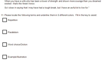 Speech Analysis Quiz - Rhetoric