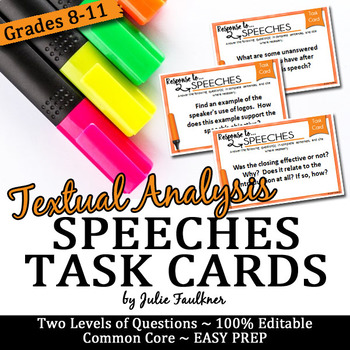 Speech Analysis Task Cards, Comprehension, Prompts, Any Speech