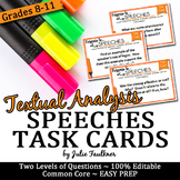 Speech Analysis Task Cards, Response to a Text, Analysis of any Speech