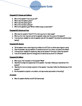 Speech Analysis guidelines