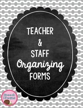 Classroom Teacher Organizing Forms Checklists FREE