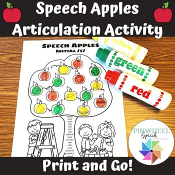 Speech Apples Printable Articulation Activity Fall Autumn Speech Therapy Easel