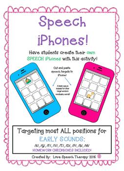 Speech Artic iPhones-EARLY SOUNDS - K,G,F,V,T,D,P,B,M - NO PREP!