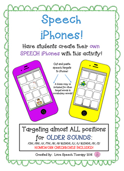 Speech Artic iPhones-OLDER Sounds L, L BLENDS, R, R BLENDS, S, Z, TH, SH, CH, J