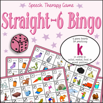 Speech Artic - /k/ sound: Connect-6 Bingo Game