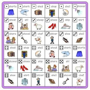 Speech Artic - 'sh' sound: Connect-6 Bingo Game