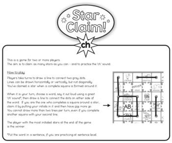 Speech Articulation Activity (Black & White):  Star Claim Game – 'ch'