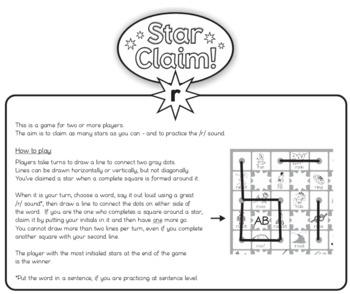 Speech Articulation Activity (Black & White):  Star Claim Game – /r/