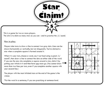 Speech Articulation Activity (Black & White):  Star Claim Game – /s/