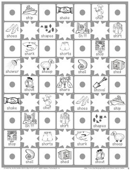Speech Articulation Activity (Black & White):  Star Claim Game – 'sh'