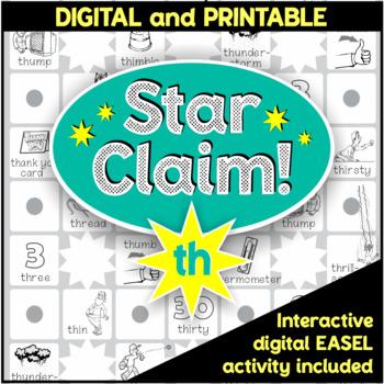 Speech Articulation Activity (Black & White):  Star Claim Game – 'th'