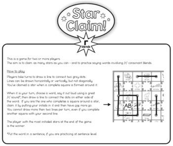 Speech Articulation Activity Freebie (B&W):  Star Claim Game – /r/ blends