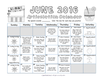 Summer Speech Articulation Calendars 2016 {FREEBIE}