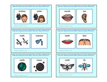 Speech Articulation ~ TH Compare/Contrast Cards ~ Freebie
