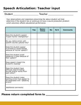 Speech Articulation: Teacher Input Form